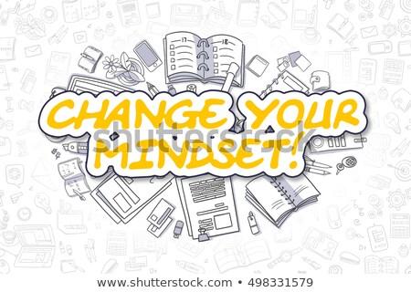 change your mindset with doodle design icons stock photo © tashatuvango