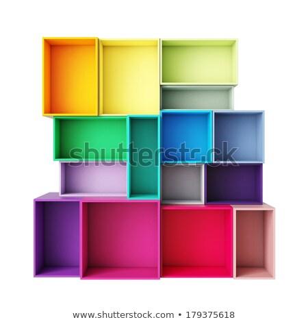 Boş renkli kutuları beyaz doku Stok fotoğraf © dezign56