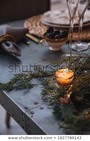 Kaarsen tabel ingesteld evenement partij Stockfoto © artfotodima