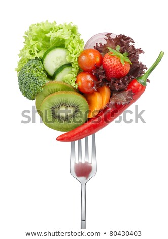 cucumber cherry tomatoe carrot and broccoli on forks isolated on white healthy lifestyle concept stock photo © lightfieldstudios
