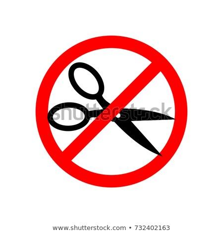 Stop cięcie nożyczki czerwony znak drogowy zakazu Zdjęcia stock © popaukropa