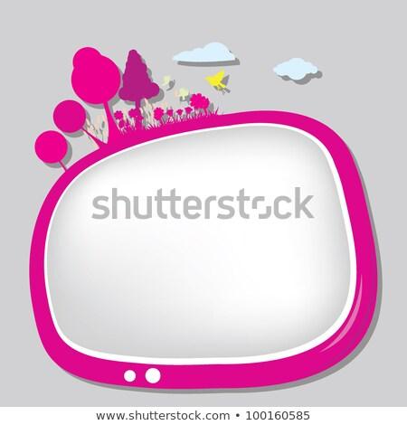 Szalag gyerekek televízió ikon lineáris stílus Stock fotó © Olena
