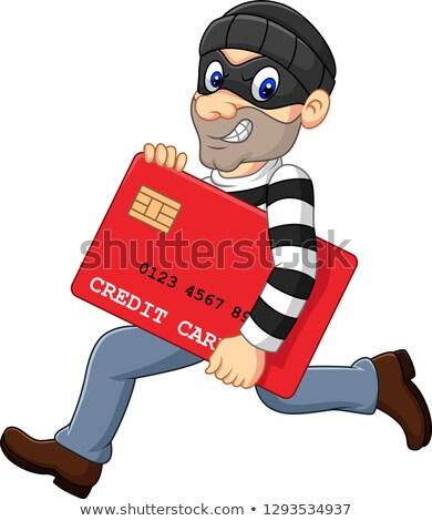 Uomo rapinatore carta di credito isolato bianco vettore Foto d'archivio © orensila
