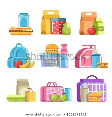 Gyerekek alma hotdog szendvics illusztráció kicsi Stock fotó © lenm