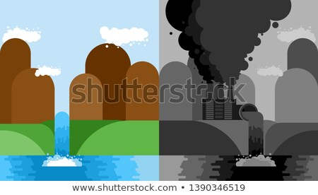 Clean and Industrial Landscape set. Plant poisonous emissions. M Stock photo © MaryValery