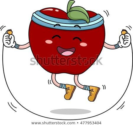 Mascot Apple Jumping Rope Stock photo © lenm