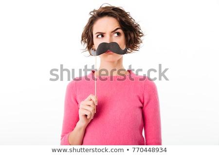 Engraçado mulher falsificação bigode óculos Foto stock © deandrobot