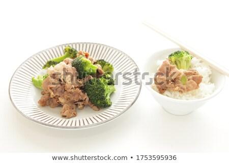 Homemade Bowls Of Pork And Broccoli Stir Fry Stock photo © mpessaris