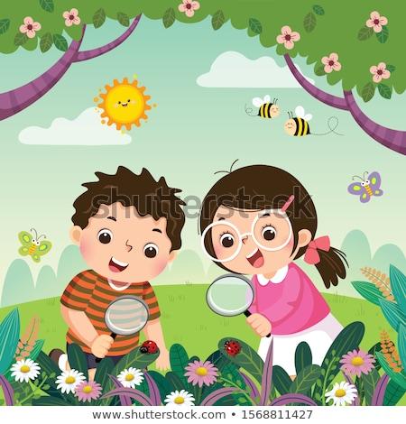 planta · pequeno · joaninha · ilustração · flor · primavera - foto stock © rastudio