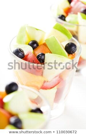 Szemüveg gyümölcssaláta közelkép frissítő nyári gyümölcs saláta Stock fotó © mpessaris