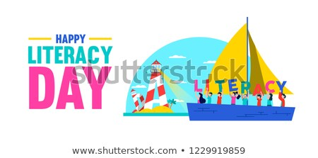 Literacy Day banner book sea for kids education Stock photo © cienpies