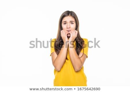 Miedo muchacha adolescente Cartoon ilustración mirando Foto stock © cthoman