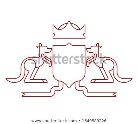 Kangoeroe schild symbool australisch koninklijk embleem Stockfoto © MaryValery