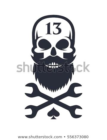 Sakallı kafatası kafatası maskot ikon örnek Stok fotoğraf © patrimonio