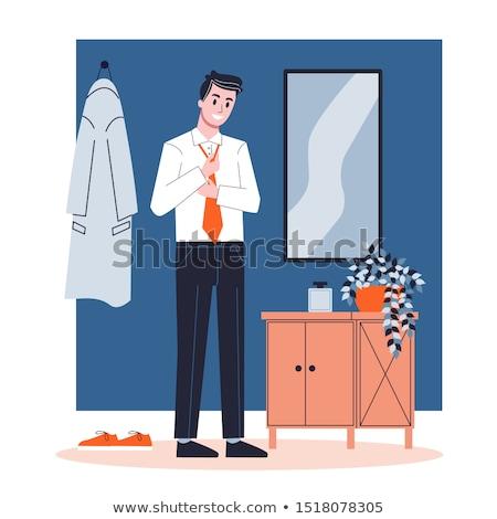 Man Putting On His Shirt Illustration Stock photo © artisticco