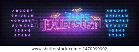 счастливым Хэллоуин неоновых баннер дизайна Scary Сток-фото © Anna_leni