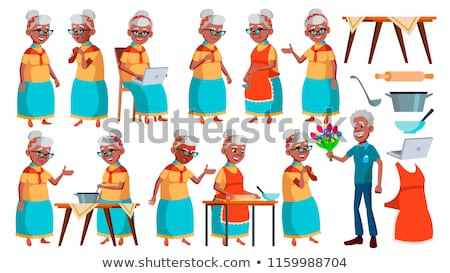 Old Woman Poses Set Vector. Black. Afro American. Elderly People. Senior Person. Aged. Friendly Gran Stock photo © pikepicture