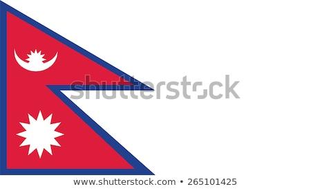 Nepal vlag witte ontwerp Blauw Rood Stockfoto © butenkow