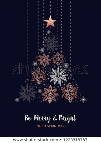 Alegre Navidad cobre copo de nieve pino tarjeta Foto stock © cienpies