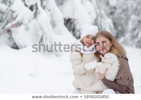 Dog mom and her dog playing in the snow Stock photo © Kzenon