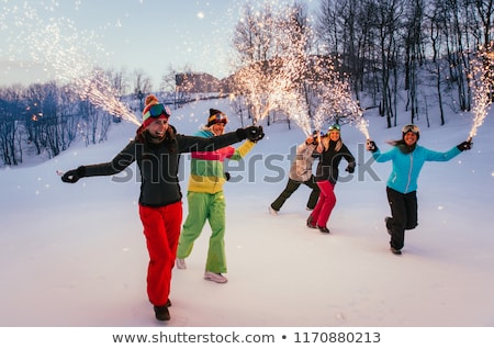 Skiing at Christmas in the mountains Stock photo © Ustofre9