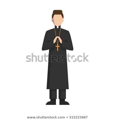 Felice cartoon sacerdote illustrazione guardando uomo Foto d'archivio © cthoman