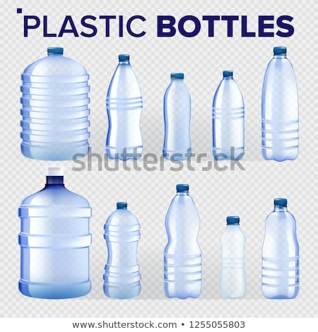 Plastic Bottles Set Vector. Different Types Of Bluer Classic Water Bottle With Cap. Container For Dr Stock photo © pikepicture