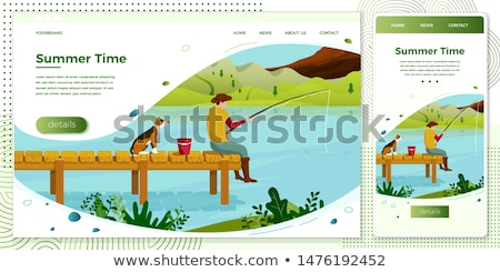 Fisherman with rod fishing from platform vector Stock photo © robuart