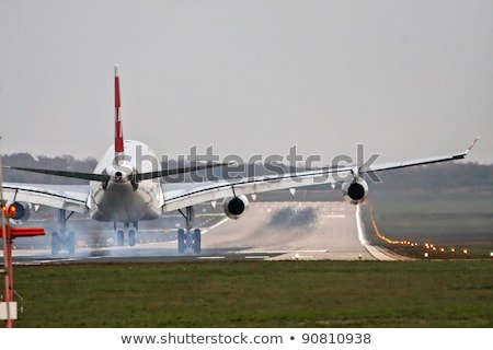 De volta avião aterrissagem pista ilustração paisagem Foto stock © colematt