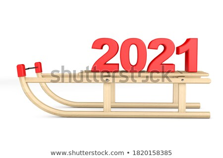 Wooden metal sledge with rope 3D Stock photo © djmilic