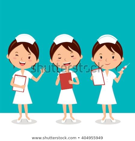 rajz · lány · betegség · egészség · gyógyszer · vicces - stock fotó © rastudio