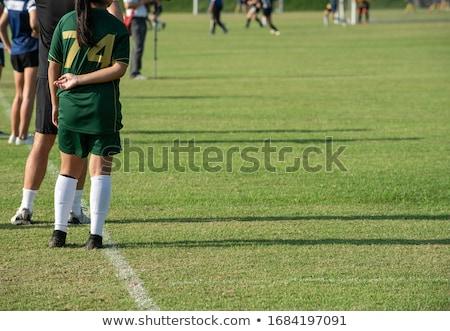 mavi · futbol · topu · oyuncular · alan · yeşil · ot - stok fotoğraf © matimix