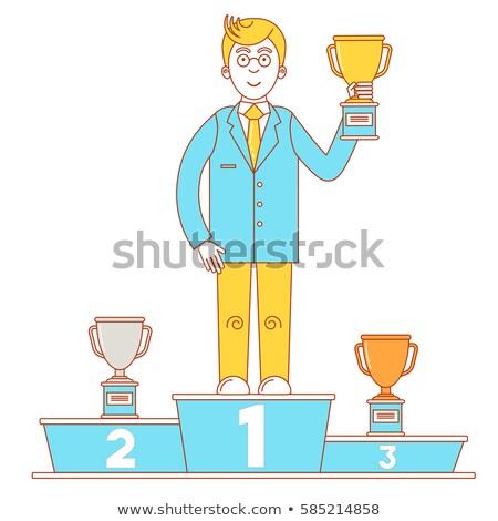 kazananlar · podyum · işadamı · altın · fincan · gümüş - stok fotoğraf © kali