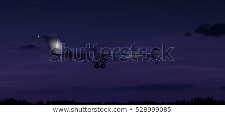 airplane flying in sky at night stock photo © colematt
