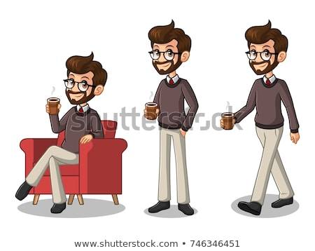 vector set of man drinking stock photo © olllikeballoon