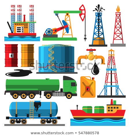 Oil Icons Production Extraction Vector. Isolated Flat Cartoon Illustration Stock photo © pikepicture