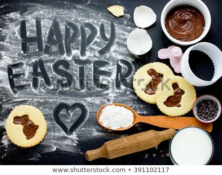 húsvét · levélpapír · tojások · toll · papír · tavasz - stock fotó © nito