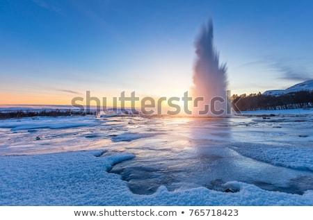 間欠泉 アイスランド すごい 自然 日没 ストックフォト © Kotenko