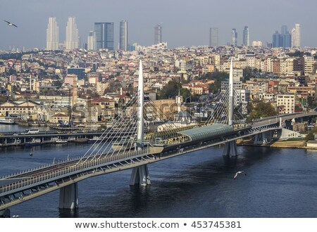 panoramic view of istanbul cityscape with suleymaniye mosque with tourist ships floating at bosphoru stock photo © artjazz