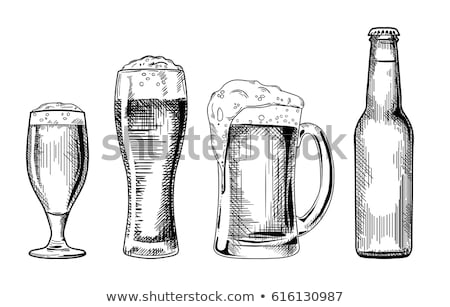 Bottle Of Beer And Glass With Frothy Drink Vector Stock photo © pikepicture