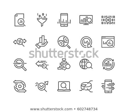 Staafdiagram vector lijn icon geïsoleerd witte Stockfoto © smoki