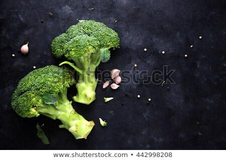 Friss zöld nedves brokkoli fekete copy space Stock fotó © marylooo