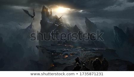 Fantasy dragon histoire illustration arbre feu Photo stock © bluering