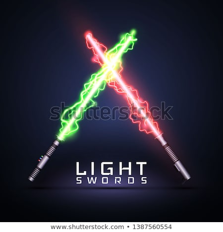 Neon electric light swords. Crossed light sabers isolated on darck background. Vector illustration stock photo © olehsvetiukha