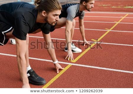 Kettő ikrek fiútestvérek kész fut kint Stock fotó © deandrobot