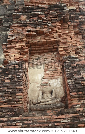 The wall in the temple is filled with buddhas. Religion Buddhism concept. Texture, background Buddhi Stock photo © galitskaya