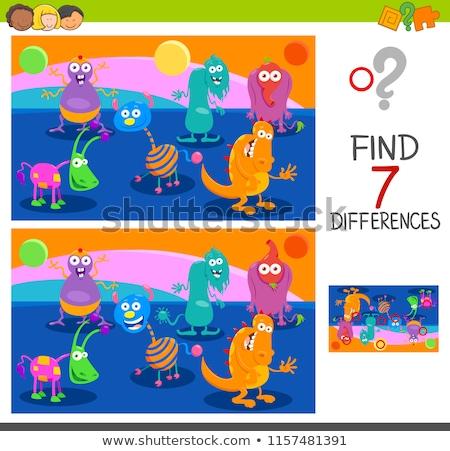 Vorschule · Unterschiede · Aufgabe · Karikatur · Illustration · pädagogisch - stock foto © izakowski