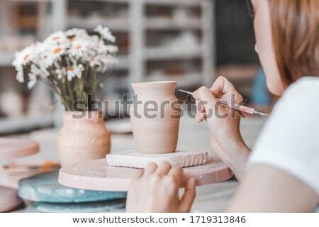 handen · werken · aardewerk · wiel · vrouw - stockfoto © pressmaster