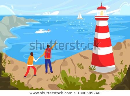 пару пляж судно наслаждаться лет вектора Сток-фото © robuart
