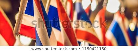 Diez pequeño tailandés banderas bokeh Foto stock © galitskaya